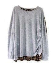 Grey Spliced Leopard T-shirt with Round Neckline