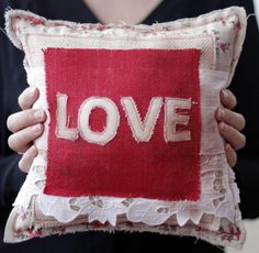 Make Your Own Shabby Chic Love Pillow - The Creative Studio Valentine Crafts, Holiday Crafts, Make Your Own, Make It Yourself, Craft Show Ideas, Burlap Pillows, Creative Studio, Homemade Gifts, Fabric Crafts