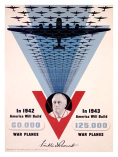 American WWII poster, showing the massive increase in American output from 1942 to 1943