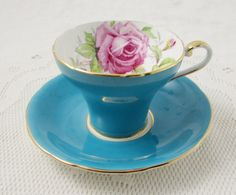 Blue Turquoise Aynsley Tea Cup and Saucer with Pink Rose, Cabbage Rose, Corset Shape, Vintage Bone China
