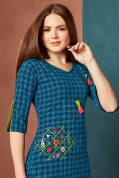 Wholesale Daily Wear Cotton Embroidery Kurti Set Bulk Supplier Of Kurtis Kurti Sleeves Design, Kurta Neck Design, Sleeves Designs For Dresses, Dress Neck Designs, Sleeve Designs, Blouse Designs, Embroidery On Kurtis, Kurti Embroidery Design, Modern Embroidery