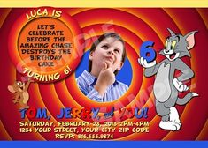 Personalized Tom And Jerry Party Invitations Kids Birthday Themes Supplies Third