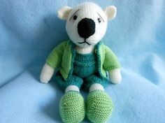 Teddy Bear Hand Knitted with Overall Pants Boots and by KatesCache