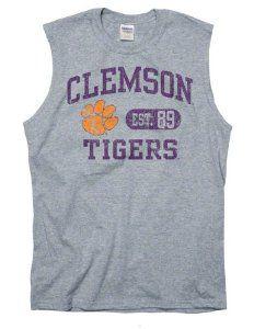 Clemson Tigers Grey Boardwalk Sleeveless T-Shirt by New Agenda.  14.99.  Distressed screen 52abcfe64
