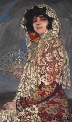 Ignacio Zuloaga y Zabaleta (Spanish, 1870-1945)   Maja http://www.pinterest.com/mscellanea/flamenco-paintings/