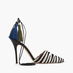 "Straight from our fall Fashion Week 2015 presentation and into your closet, our made-in-Italy Roxie pump gets an exotic update with zebra-print calf hair, a black leather heel and leather ankle straps with two fun tassels. That's what we call a statement shoe. <ul><li>4 1/8"" heel.</li><li>Calf hair upper.</li><li>Leather lining and sole.</li><li>Made in Italy.</li></ul>"