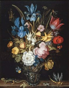 Roelandt Savery — Still Life with Flowers in a Glass Berkemeyer with a Lizard, Frog and Dragonfly on a Ledge, 1637 : Fitzwilliam Museum, University of Cambridge, Cambridge. Dragonfly Drawing, Dutch Still Life, Baroque Painting, Old Paintings, Flower Paintings, Painting Still Life, Sketch Painting, Art Uk, Western Art