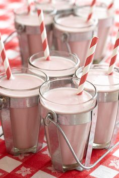 Mini Milkshakes. Pick a few flavors and whip up some mini malted milkshakes for everyone at the baby shower to enjoy.