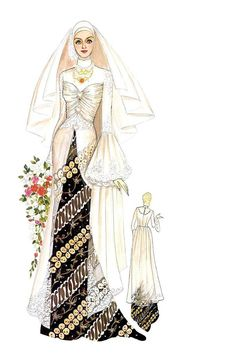 Kreasi kebaya yang panjang mendekati mata kaki. Detail model berupa hiasan drapperies di dada dan dipercantik dengan aplikasi bunga-bunga brokat serta lengan klok. Tampil mewah dan cantik. Bahan ; organdi, lace, atau trulle. Dress Design Sketches, Fashion Design Drawings, Fashion Sketches, Hijab Fashion, Fashion Art, Fashion Dresses, Muslim Wedding Gown, Fashion Figures, Girl Hijab