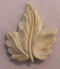 Vintage Scarf Dress Clip Brooch Plastic Celluloid Carved Molded Leaf Ivory Color
