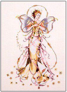 June's Pearl Fairy, cross stitch by Mirabilia Designs using Kreinik metallic thread.