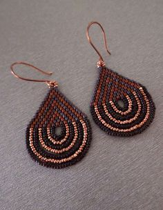 Peyote Earrings Womens Beaded Earring Brown Terracotta