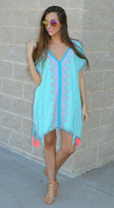 Sline Chic Cover Up Has Vibrant Pink Tels And Beautiful Blue Embroidered Detailed The Bright Mint Will Compliment A Nice Beach Tan