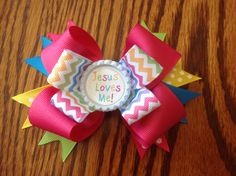 Jesus Loves Me Hair Bow https://www.facebook.com/budsnbows.bowtique