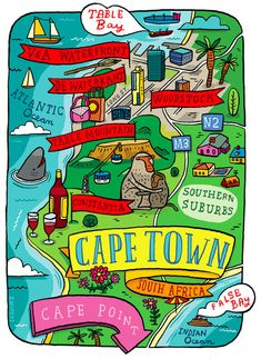 Cape Town map by Aaron Meshon Travel Maps, Africa Travel, Travel Posters, African Holidays, Clifton Beach, V&a Waterfront, Cape Town South Africa, City Illustration, Map Design