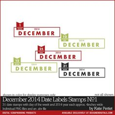 December 2014 Date Labels Brushes and Stamps No. 01- Katie Pertiet Brushes- DS671219- DesignerDigitals