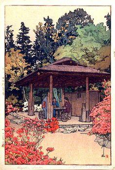 'Azalea Garden', by Hiroshi Yoshida. A shin hanga print.