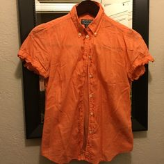 Polo jeans cute orange top Cute summer top with ruffled end sleeves Polo by Ralph Lauren Tops Button Down Shirts