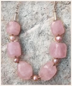 Rose quartz nuggets and baby pink pearl necklace. Big chunky gemstone's and pearls? I'm in heaven!