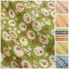 CHERRY floral fabric 5 colours pink blue green lemon 100% cotton FQ/ 1/2 METRE