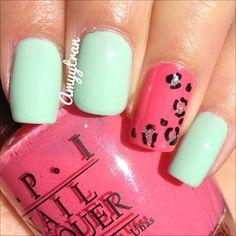 Simple leopard mani #revlon - minted #essie - beyond cozy #opi - elephantastic pink |  @amyytran