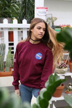 Sweaters + Sweatshirts Woman : NASA Oxblood Sweatshirt Long