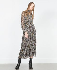 PRINTED LONG SLEEVE MAXI DRESS-Maxi-Kleider-DAMEN | ZARA Deutschland