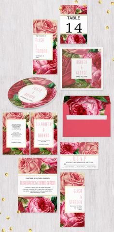 Beautiful vintage pink rose flowers and white band with gold out line #weddinginvitations collection.