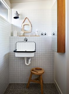 Lately we've been noticing the humble Alape bucket sink in washrooms everywhere (we first spotted it at Labour and Wait, in London). Here's a roundup of spaces, plus a source for the sink. Bathroom Storage, Bathroom Interior, Small Bathroom, Minimal Bathroom, Bathroom Sinks, Bathroom Vintage, Small Sink, Small Tiles, Tiny Bathrooms