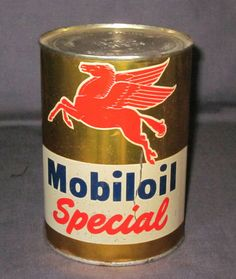 Vintage Mobiloil Special Motor Oil Advertising Tin Can