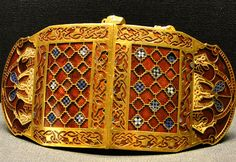 British Museum, London Sutton Hoo ship burial, early Anglo-Saxon period - shoulder clasps