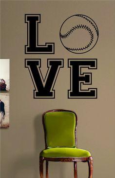 Love Baseball Softball Design Sports Decal Sticker Wall Vinyl Decor Art