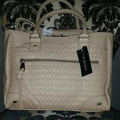 """NWT Steve Madden """"BORLA"""" Woven Tote Taupe color, brand new with tags, retail $98 GORGEOUS BAG! Woven design on front, handles and shoulder strap, beautifully lined interior with two small pouch pockets and a zip pocket. Exterior zip pocket as well.  Smoke and pet free home   Don't forget to bundle for discounts! Steve Madden Bags Totes"""