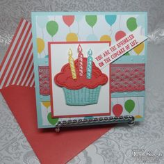 Sprinkles of Life, Tree Builder & Baner Triple punches, Cherry on Top DSP Stack, Perfect Polka Dots EF, In Color Dotted Lace Trim Sprinkles, Cupcake Card, Scrapbook Cards, Scrapbooking, Stampin Up Catalog, Creative Cards, Kids Cards, Cute Cards, Homemade Cards
