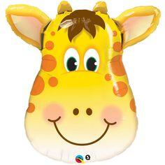 32-inch-tall giraffe shaped foil balloon matches many of our jungle and animal-themed birthday party supplies and decorations.  Yellow, orange, and brown, with a big smile!  Sold individually
