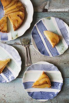 Upside Down Caramelized Pear and Almond Cake #recipe via FoodforMyFamily.com