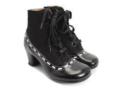 Fluevog Operettas Bordoni Black & White Leather Boots