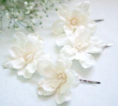Ivory Wedding Hair Flowers with Pearls (4 pcs) Bridal Flower Hair Pins Rustic Beach Wedding Garden Wedding Hair Accessories Bridesmaid. $28.00, via Etsy.