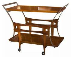 Englander & Bonta walnut and brass trolley/bar cart, Buenos Aires, Argentina, c. 1950-1960