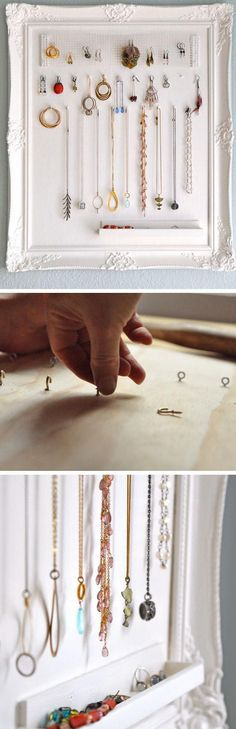 Upcycle an Old Picture Frame | Click Pic for 18 DIY Jewelry Storage Ideas for Small Bedrooms | Dollar Store Organizing Ideas for the Home