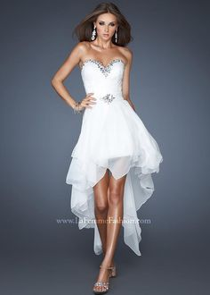 Gigi 18970 White High Low Prom Dress with removable skirt