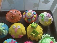cupcakes cubiertas de fondant de animales