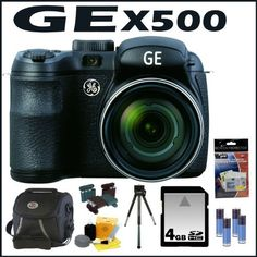 """GE X500 16MP Digital Camera with 15X Optical Zoom and 2.7 Inch LCD in Black + 4GB Memory Card + Mini Tripod + Camera Case + Accessory Kit by GE. $129.00. GE X500 Power Pro Series Bridge Camera with Electronic View Finder, Optical Image Stabilization, 16MP, 15X Optical Zoom, 2.7""""LCD, 27mm Wide Angle Lens and advanced features including Shutter & Aperture Priority mode, Program mode, ASCN, Pan-Capture Panorama, Smile & Blink Detection, Face Detection, Face Auto Exposure..."""