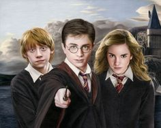 Colored pencil drawing of Harry Potter, Ron Weasley, and Hermione Granger by Heather Rooney