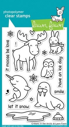 Lawn Fawn Clear Stamps, Critters in the Arctic. Ellen Hutson, LLC features Lawn Fawn Clear Stamps, Critters in the Arctic. Lawn Fawn Blog, Lawn Fawn Stamps, Simon Says Stamp, Digital Stamps, Clear Stamps, Clipart, Arctic, Coloring Pages, Illustrations