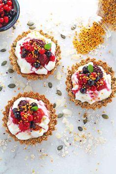 granola crust tart yogurt berries honey bee pollen