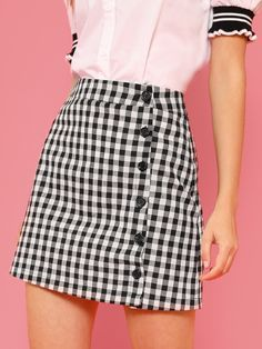 Shop Button Up Gingham Skirt online. SheIn offers Button Up Gingham Skirt & more to fit your fashionable needs. Denim Fashion, Fashion Outfits, Fashion Edgy, Fashion Skirts, Sneakers Fashion, Plus Size Dresses, Blue Dresses, White Flowy Dress, Cheap Boutique Clothing