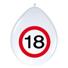 Ballonnen Verkeersbord - 18 jaar, 8st.