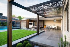 COS Design- Steel and Timber Pergola Pinned to Garden Design - Pergolas by Darin Bradbury.