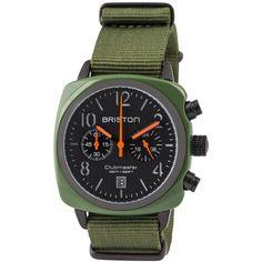 Clubmaster Chrono green army - Briston Watches